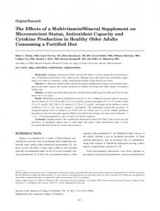 The Effects of a Multivitamin/Mineral Supplement on Micronutrient ...