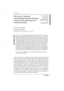 The effects of altering environmental and instrumental context on the ...