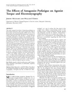 The Effects of Antagonist Prefatigue on Agonist Torque and ...