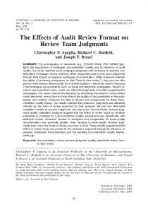 The Effects of Audit Review Format on Review Team Judgments