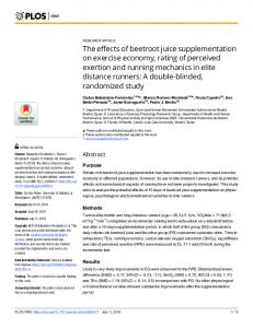 The effects of beetroot juice supplementation on exercise ... - PLOS