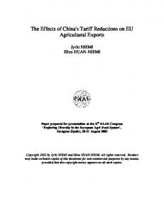 The Effects of China's Tariff Reductions on EU ... - AgEcon Search