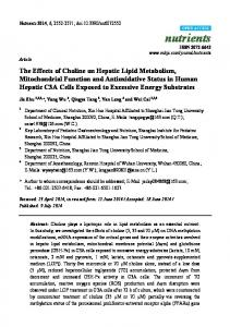 The Effects of Choline on Hepatic Lipid Metabolism, Mitochondrial ...