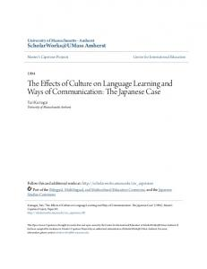 The Effects of Culture on Language Learning and
