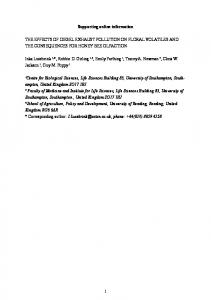 The effects of diesel exhaust pollution on floral ... - Reading's CentAUR