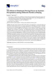 The Effects of Dominant Driving Forces on Summer ... - MDPI