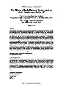 The Effects of Early Maternal Employment on Child Development in ...