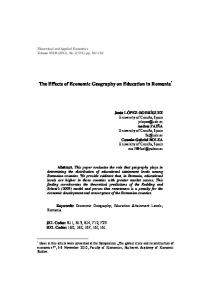 The Effects of Economic Geography on Education in Romania