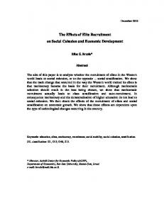 The Effects of Elite Recruitment on Social Cohesion and ... - OECD