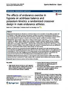 The effects of endurance exercise in hypoxia on