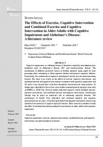 The Effects of Exercise, Cognitive Intervention and Combined Exercise ...