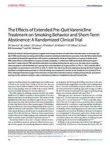 The Effects of Extended Pre-Quit Varenicline Treatment on Smoking ...
