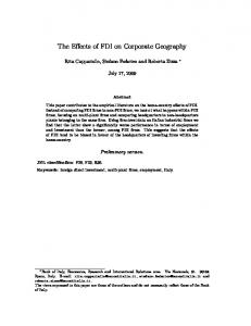 The Effects of FDI on Corporate Geography - European Trade Study