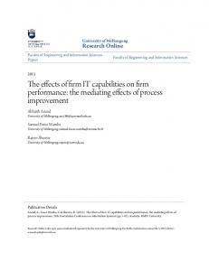 The effects of firm IT capabilities on firm performance - Research Online