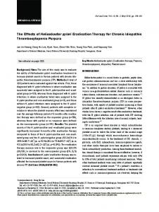 The Effects of Helicobacter pylori Eradication