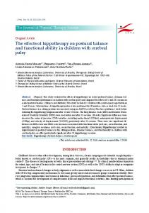 The effects of hippotherapy on postural balance
