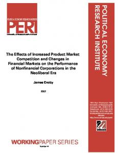 The Effects of Increased Product Market Competition and Changes in ...