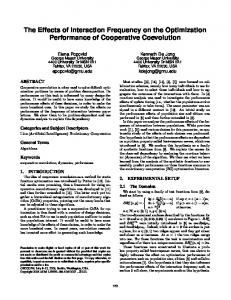 The Effects of Interaction Frequency on the Optimization Performance ...