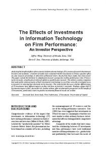 The Effects of Investments in Information Technology on Firm ...