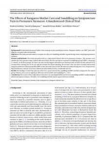 The Effects of Kangaroo Mother Care and Swaddling on Venipuncture ...