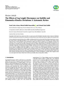 The Effects of Leg Length Discrepancy on Stability and Kinematics