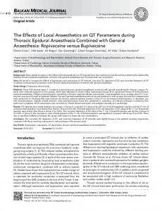 The Effects of Local Anaesthetics on QT Parameters during Thoracic ...