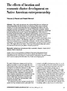 The effects of location and economic cluster development on Native ...