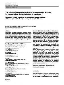 The effects of magnesium sulfate on neuromuscular ... - Springer Link