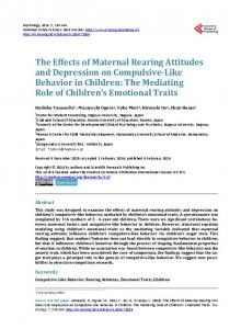 The Effects of Maternal Rearing Attitudes and Depression on ...