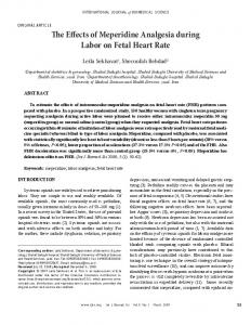 The Effects of Meperidine Analgesia during Labor