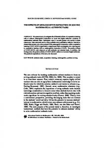 The effects of metacognitive instruction on solving ... - Springer Link