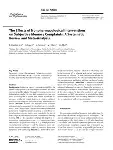 The Effects of Nonpharmacological Interventions on ...