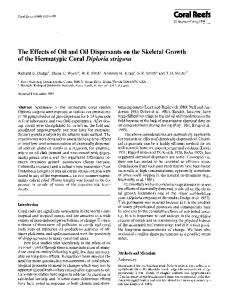 The effects of oil and oil dispersants on the skeletal growth of the ...