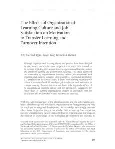 The effects of organizational learning culture and job satisfaction on ...