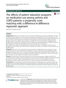 The effects of patient education programs on medication use among ...