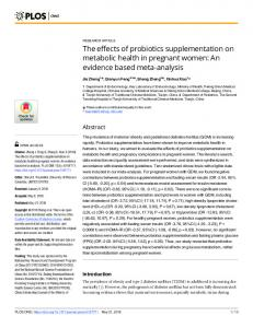 The effects of probiotics supplementation on metabolic health ... - PLOS