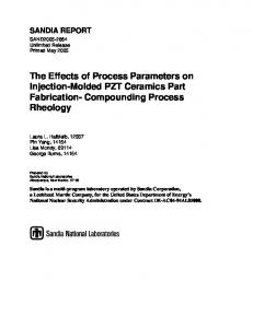 The Effects of Process Parameters on Injection-Molded PZT Ceramics ...