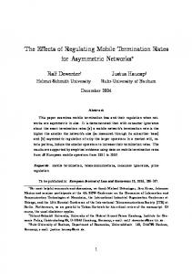 The Effects of Regulating Mobile Termination Rates for ... - SSRN papers
