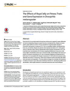 The Effects of Royal Jelly on Fitness Traits and ... - Semantic Scholar