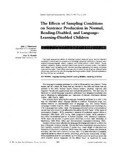 The Effects of Sampling Conditions on Sentence Production in Normal ...