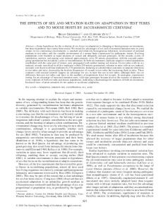 the effects of sex and mutation rate on adaptation in test ... - BioOne