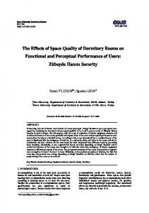 The Effects of Space Quality of Dormitory Rooms on ... - DergiPark