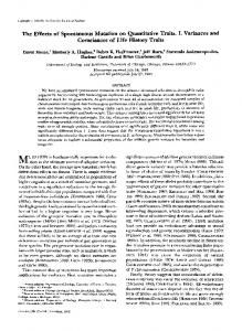 The Effects of Spontaneous Mutation on ... - Semantic Scholar