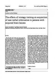 The effects of strategy training on acquisition of new ...