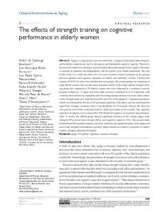 The effects of strength training on cognitive ... - Semantic Scholar