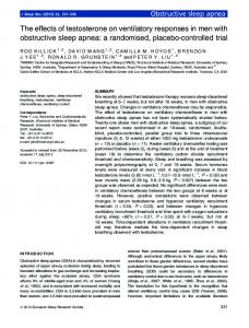 The effects of testosterone on ventilatory responses in men with ...