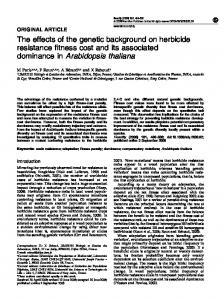 The effects of the genetic background on herbicide resistance fitness ...