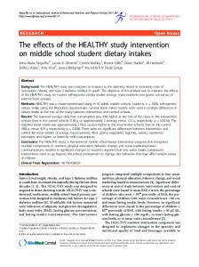 The effects of the HEALTHY study intervention on middle school ...