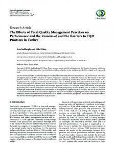 The Effects of Total Quality Management Practices on Performance ...