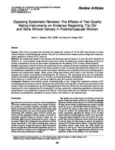 The Effects of Two Quality Rating Instruments on